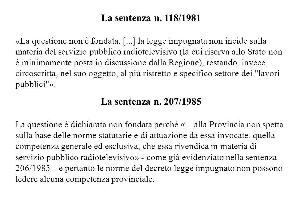 La sentenza n. 118/1981 «La questione non è fondata.
