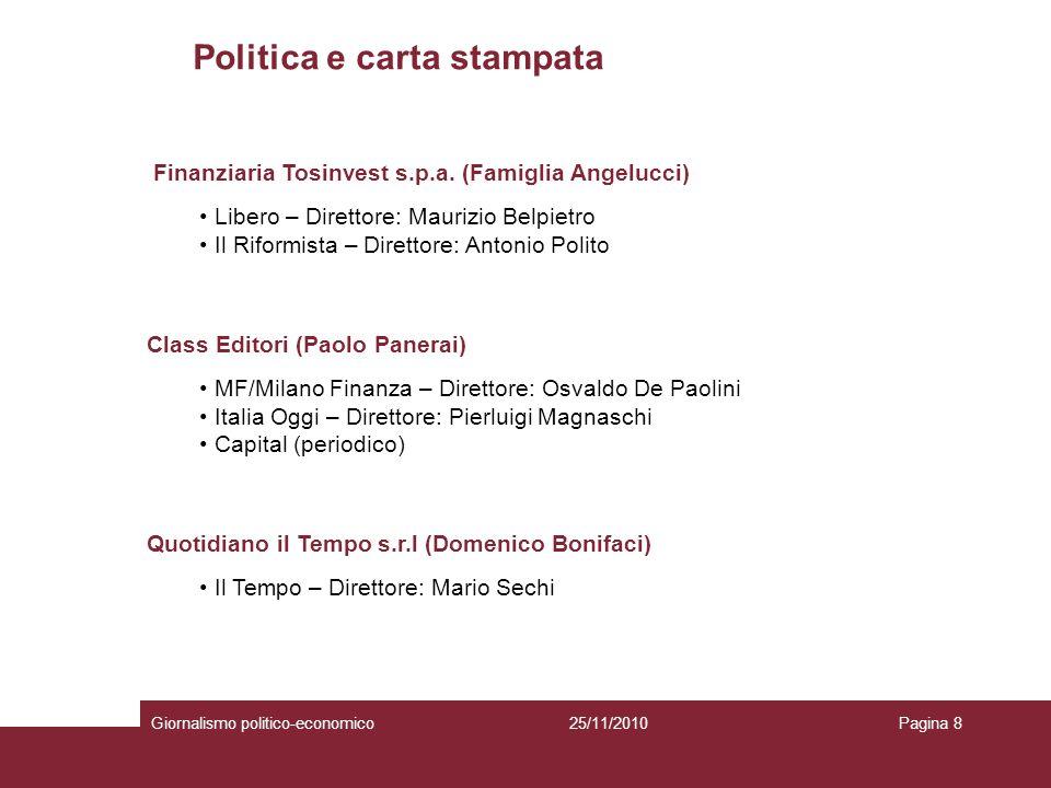 Politica e carta stampata Giornalismo politico-economicoPagina 825/11/2010 Finanziaria Tosinvest s.p.a.