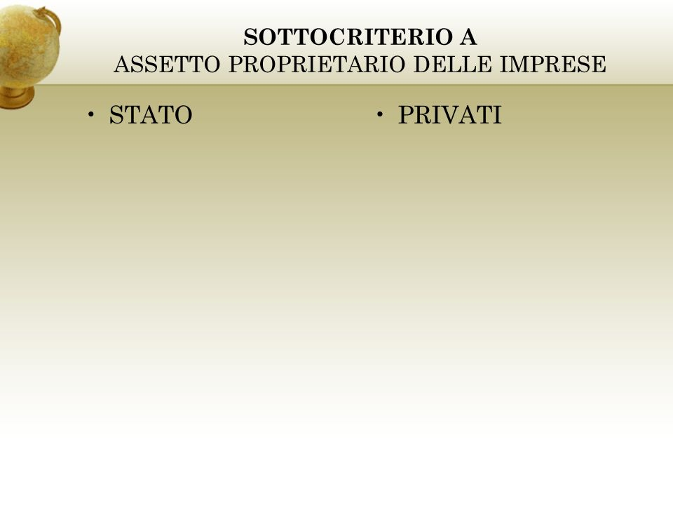 SOTTOCRITERIO A ASSETTO PROPRIETARIO DELLE IMPRESE STATOPRIVATI