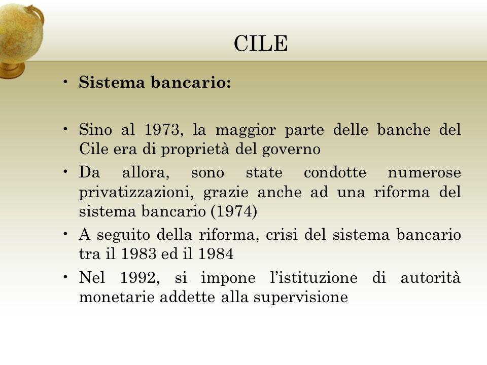 CILE Sistema bancario: Sino al 1973, la maggior parte delle banche del Cile era di proprietà del governo Da allora, sono state condotte numerose privatizzazioni, grazie anche ad una riforma del sistema bancario (1974) A seguito della riforma, crisi del sistema bancario tra il 1983 ed il 1984 Nel 1992, si impone listituzione di autorità monetarie addette alla supervisione