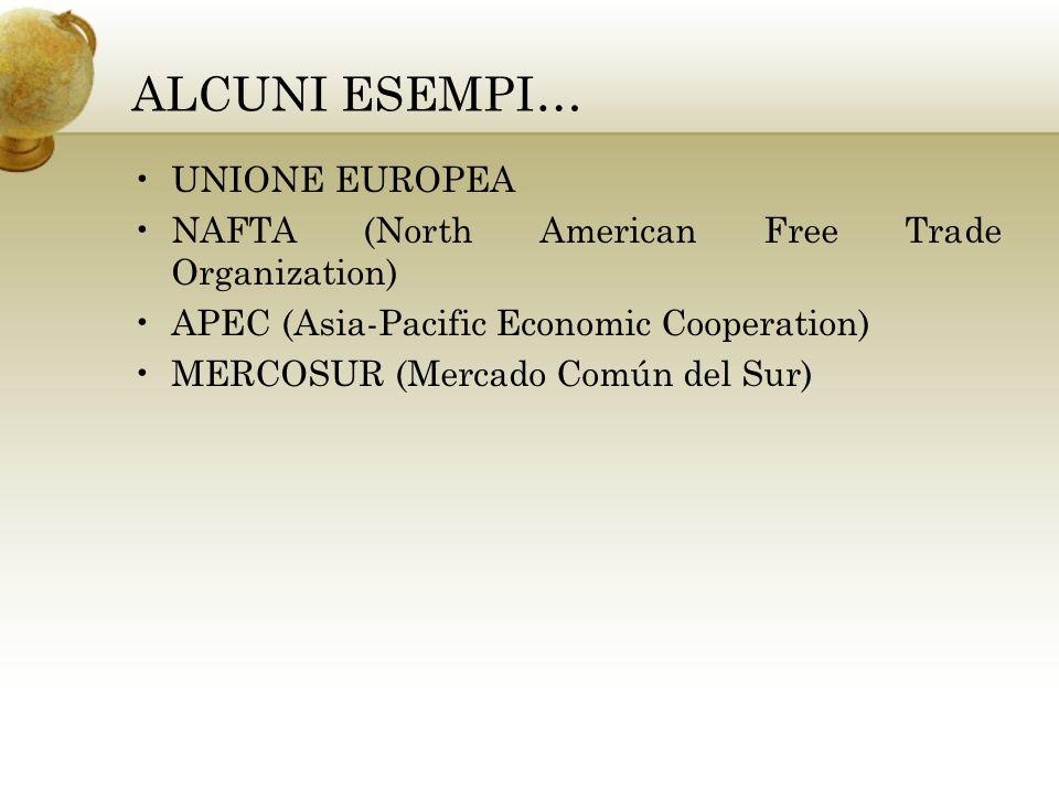 ALCUNI ESEMPI… UNIONE EUROPEA NAFTA (North American Free Trade Organization) APEC (Asia-Pacific Economic Cooperation) MERCOSUR (Mercado Común del Sur)