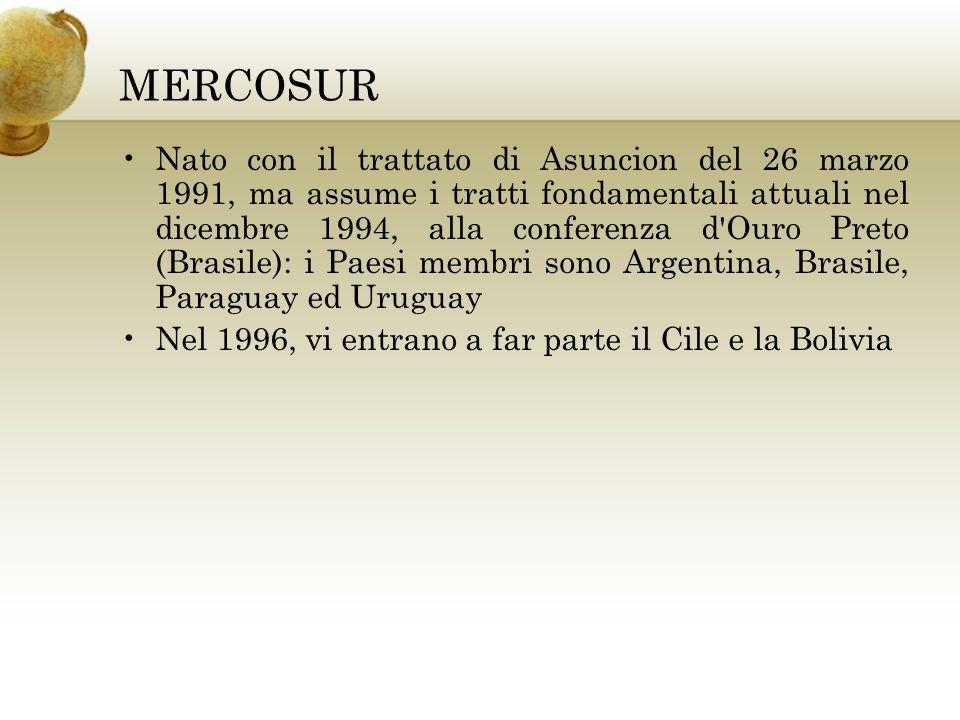 MERCOSUR Nato con il trattato di Asuncion del 26 marzo 1991, ma assume i tratti fondamentali attuali nel dicembre 1994, alla conferenza d'Ouro Preto (