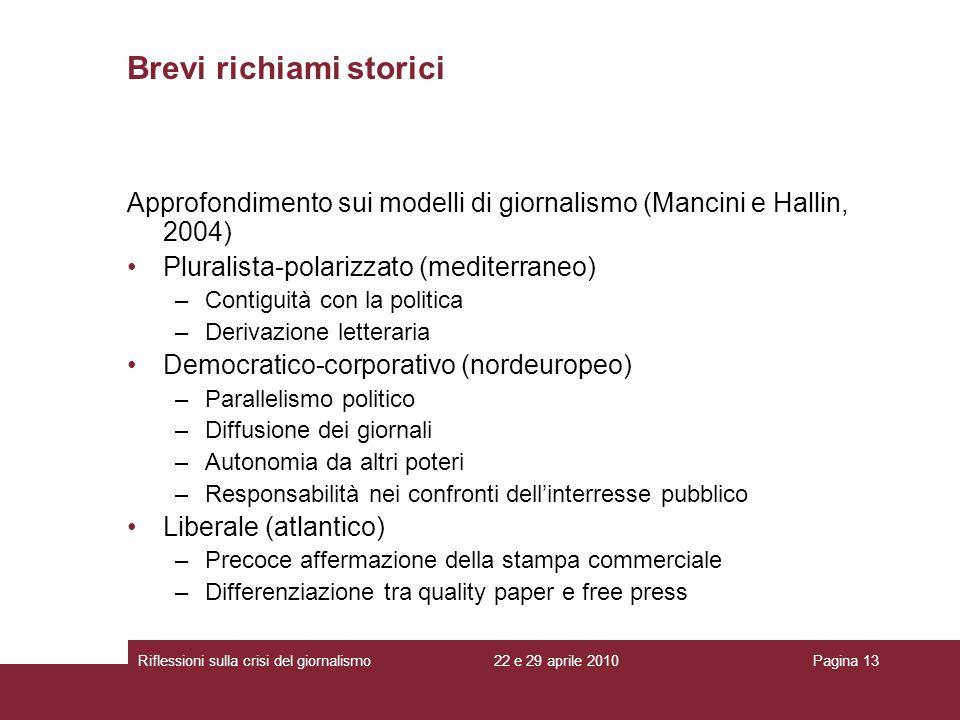 22 e 29 aprile 2010Riflessioni sulla crisi del giornalismoPagina 13 Approfondimento sui modelli di giornalismo (Mancini e Hallin, 2004) Pluralista-pol