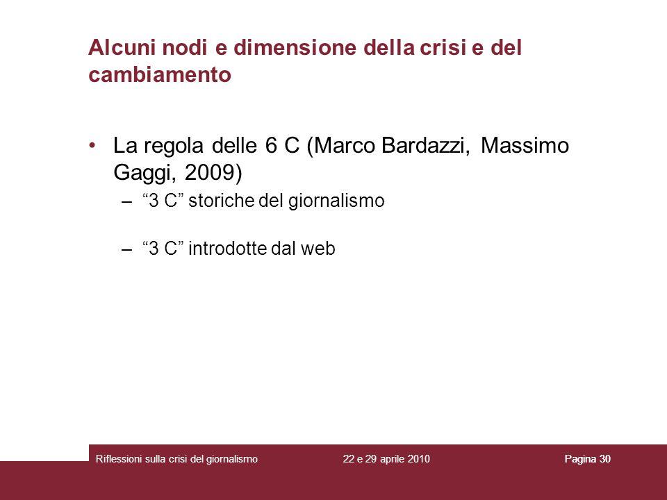 22 e 29 aprile 2010Riflessioni sulla crisi del giornalismoPagina 30 La regola delle 6 C (Marco Bardazzi, Massimo Gaggi, 2009) –3 C storiche del giorna