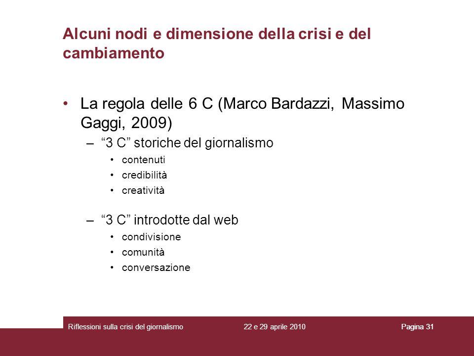 22 e 29 aprile 2010Riflessioni sulla crisi del giornalismoPagina 31 La regola delle 6 C (Marco Bardazzi, Massimo Gaggi, 2009) –3 C storiche del giorna