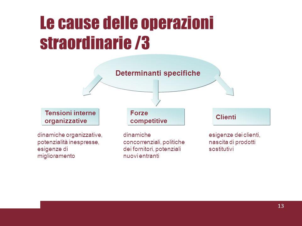 Le cause delle operazioni straordinarie /3 13 Determinanti specifiche Tensioni interne organizzative dinamiche organizzative, potenzialità inespresse,