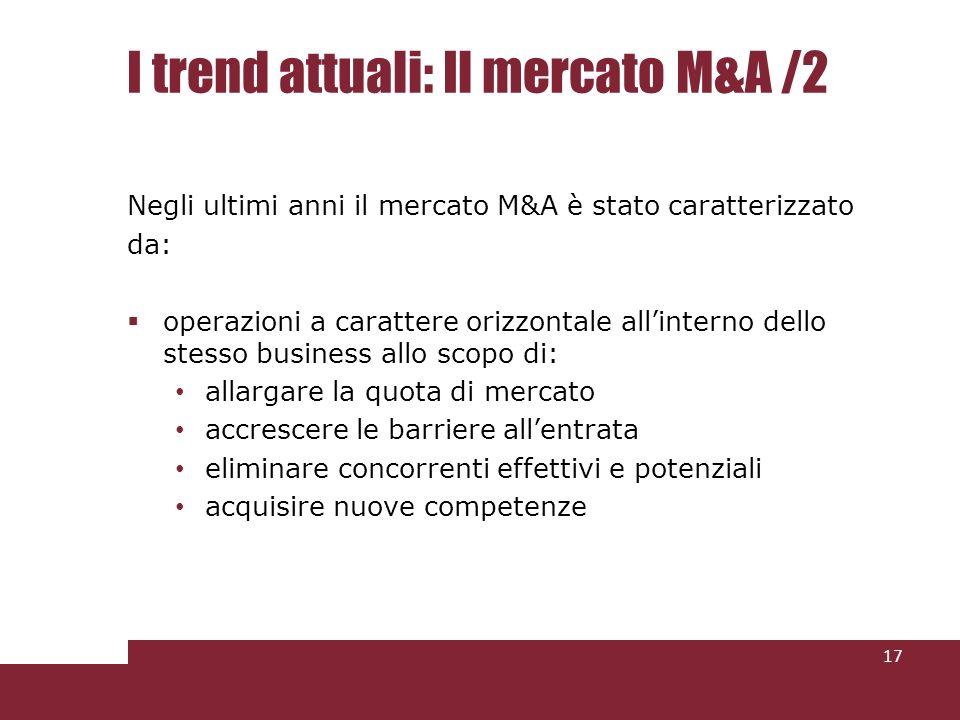 I trend attuali: Il mercato M&A /2 Negli ultimi anni il mercato M&A è stato caratterizzato da: operazioni a carattere orizzontale allinterno dello stesso business allo scopo di: allargare la quota di mercato accrescere le barriere allentrata eliminare concorrenti effettivi e potenziali acquisire nuove competenze 17