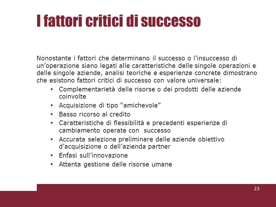 I fattori critici di successo Nonostante i fattori che determinano il successo o linsuccesso di unoperazione siano legati alle caratteristiche delle s