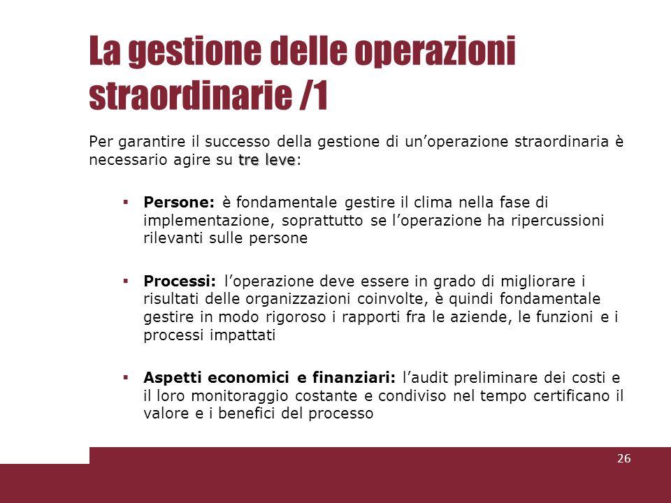 La gestione delle operazioni straordinarie /1 tre leve Per garantire il successo della gestione di unoperazione straordinaria è necessario agire su tr