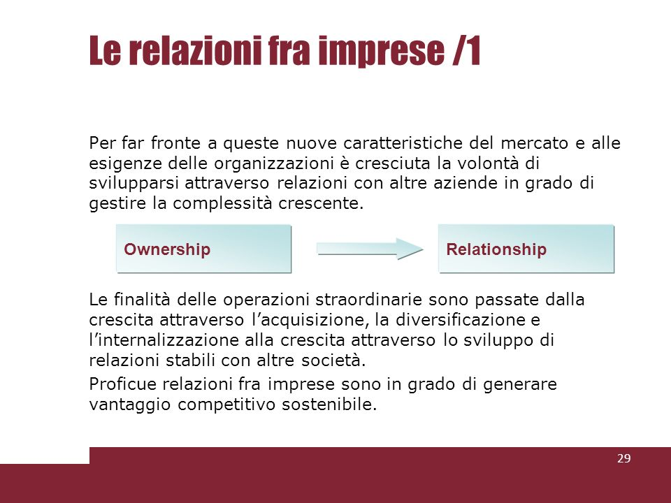 Le relazioni fra imprese /1 Per far fronte a queste nuove caratteristiche del mercato e alle esigenze delle organizzazioni è cresciuta la volontà di svilupparsi attraverso relazioni con altre aziende in grado di gestire la complessità crescente.