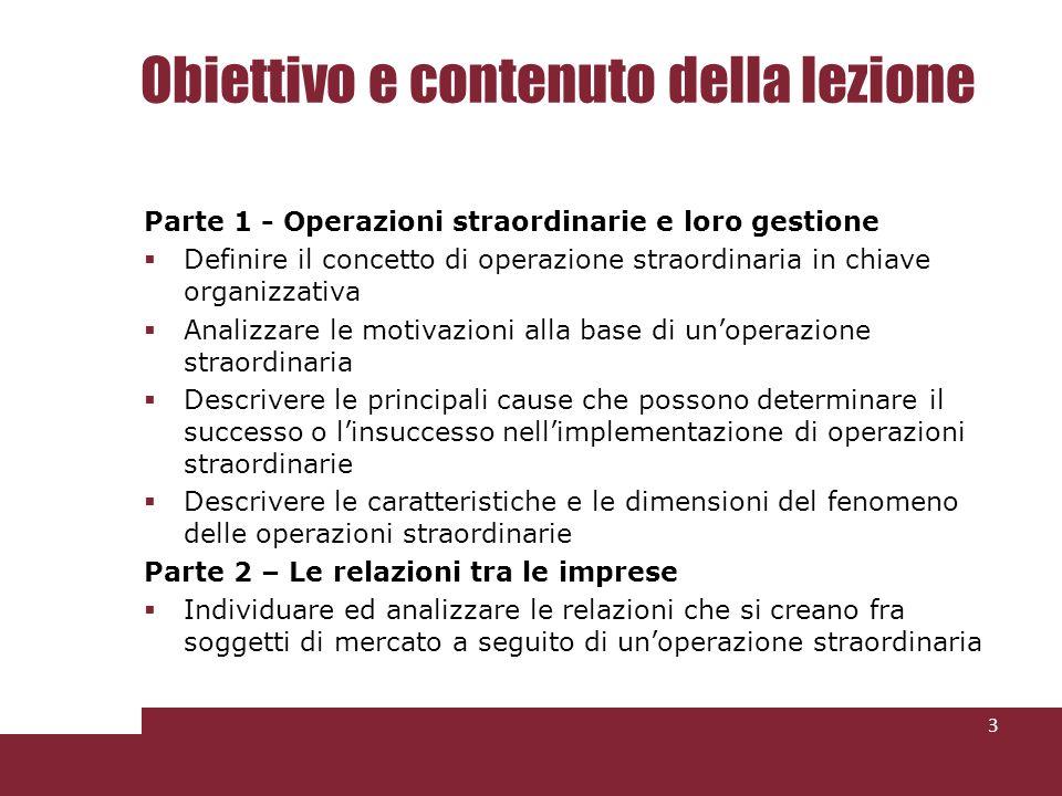 Obiettivo e contenuto della lezione Parte 1 - Operazioni straordinarie e loro gestione Definire il concetto di operazione straordinaria in chiave orga