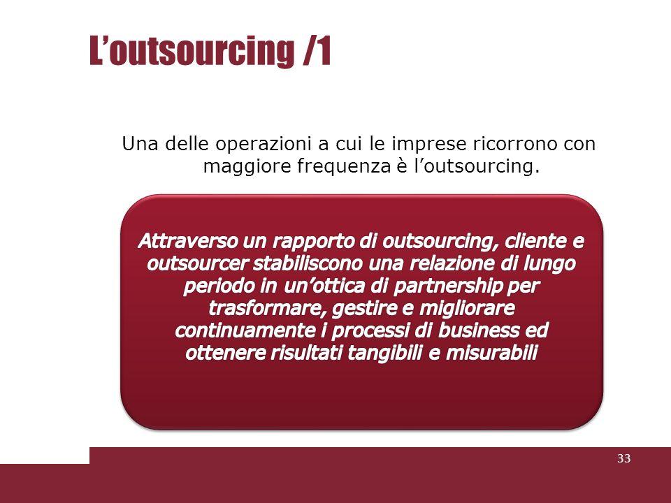 Loutsourcing /1 Una delle operazioni a cui le imprese ricorrono con maggiore frequenza è loutsourcing. 33