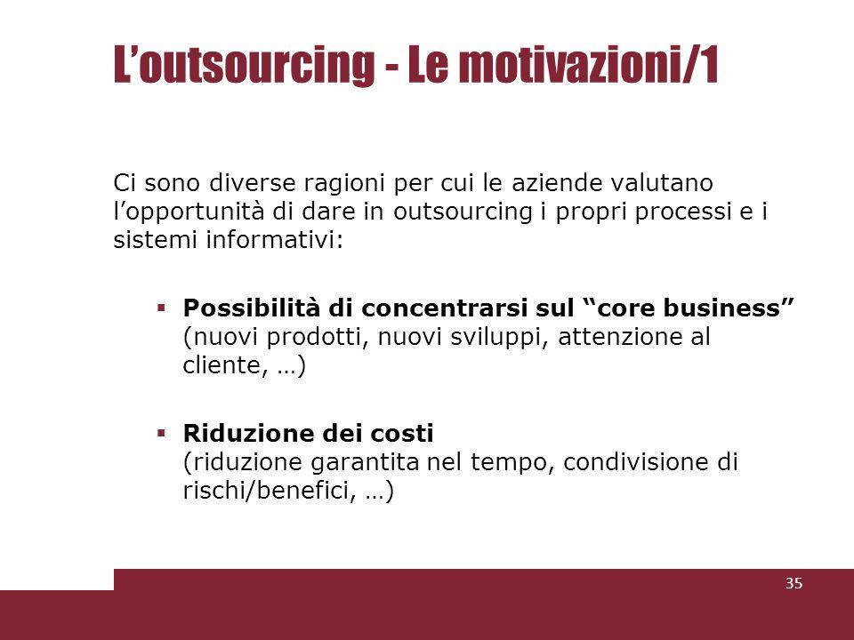 Loutsourcing - Le motivazioni/1 Ci sono diverse ragioni per cui le aziende valutano lopportunità di dare in outsourcing i propri processi e i sistemi