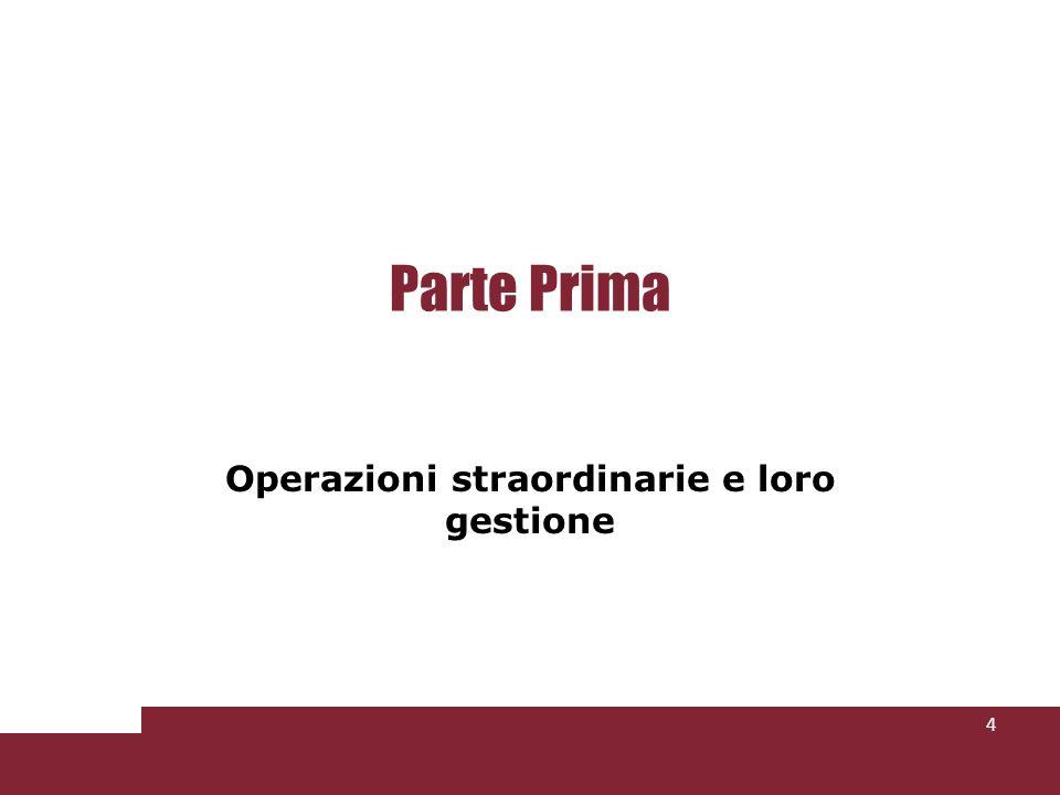 Parte Prima Operazioni straordinarie e loro gestione 4