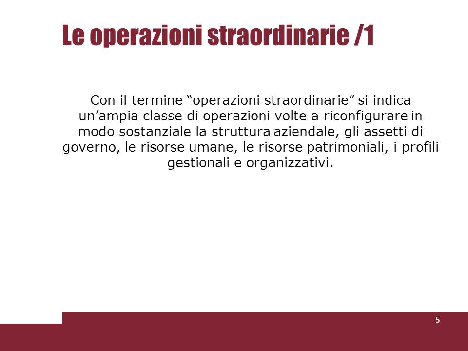Le operazioni straordinarie /1 Con il termine operazioni straordinarie si indica unampia classe di operazioni volte a riconfigurare in modo sostanzial