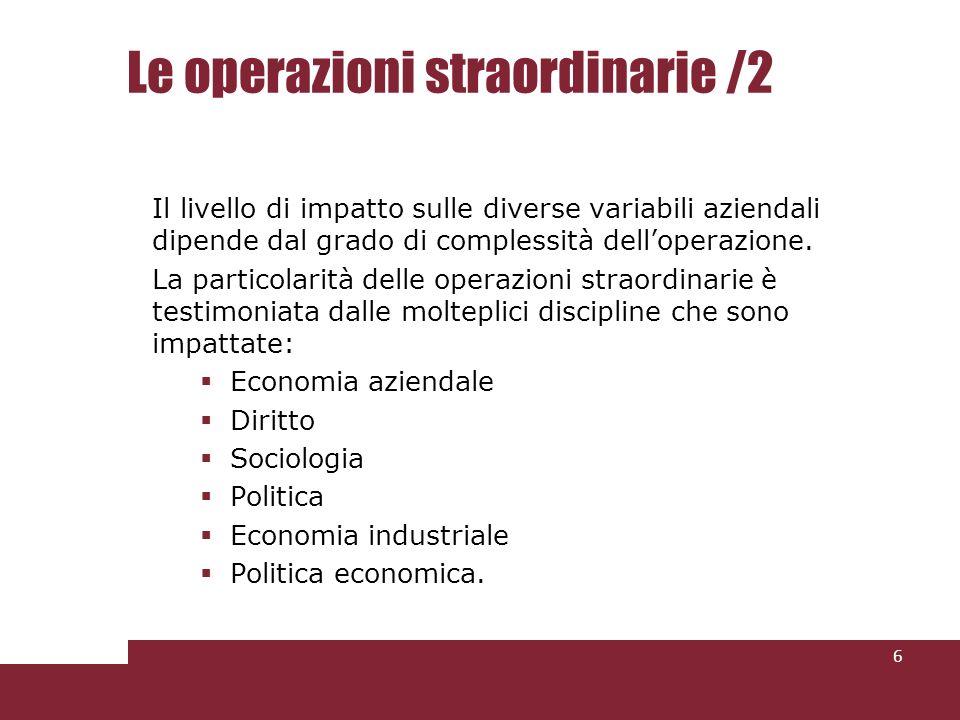 Le operazioni straordinarie /2 Il livello di impatto sulle diverse variabili aziendali dipende dal grado di complessità delloperazione. La particolari