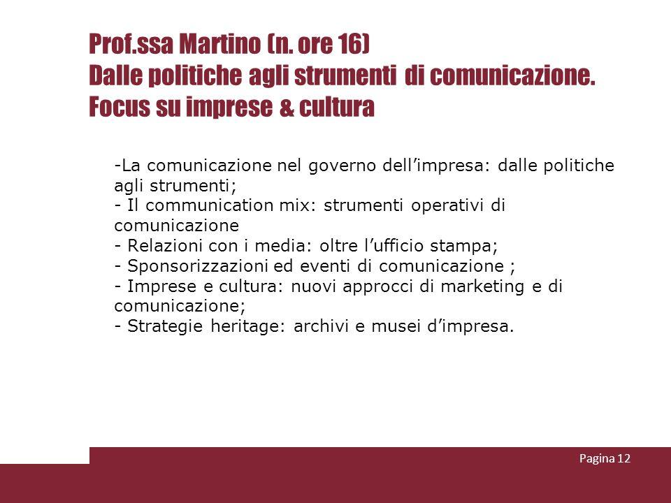 Prof.ssa Martino (n. ore 16) Dalle politiche agli strumenti di comunicazione. Focus su imprese & cultura -La comunicazione nel governo dellimpresa: da