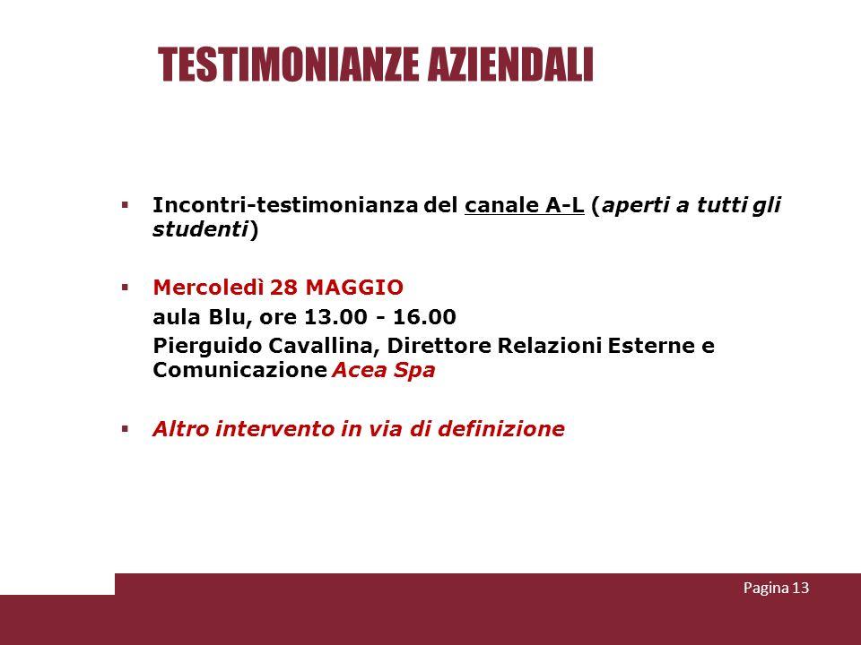 TESTIMONIANZE AZIENDALI Incontri-testimonianza del canale A-L (aperti a tutti gli studenti) Mercoledì 28 MAGGIO aula Blu, ore 13.00 - 16.00 Pierguido
