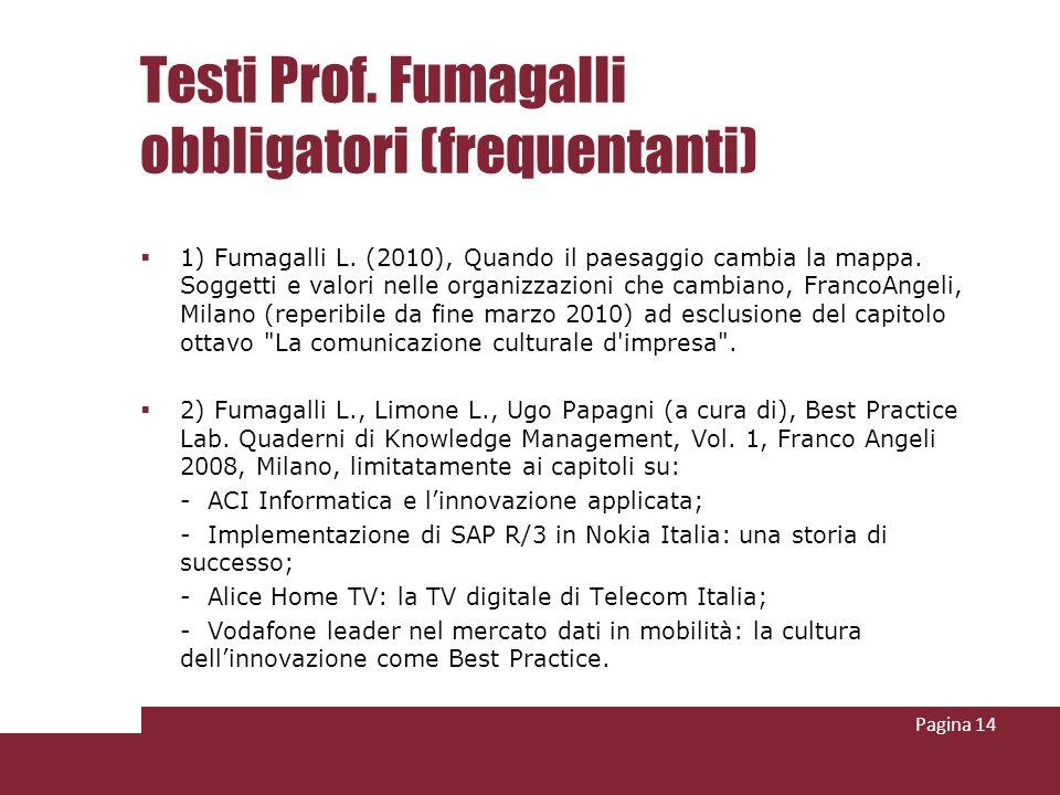 Testi Prof. Fumagalli obbligatori (frequentanti) 1) Fumagalli L. (2010), Quando il paesaggio cambia la mappa. Soggetti e valori nelle organizzazioni c