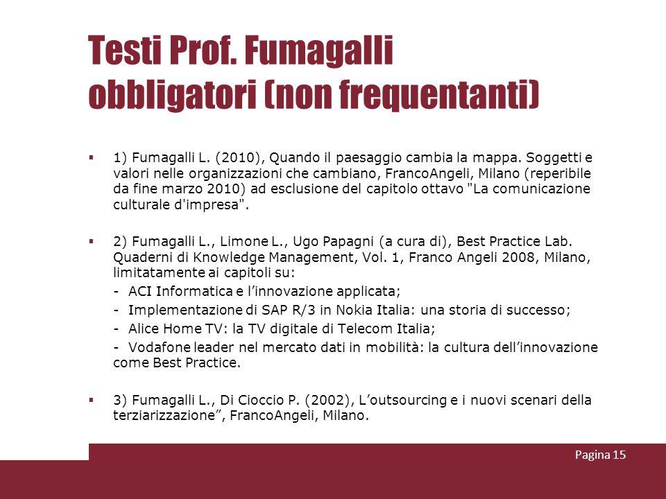 Testi Prof. Fumagalli obbligatori (non frequentanti) 1) Fumagalli L. (2010), Quando il paesaggio cambia la mappa. Soggetti e valori nelle organizzazio