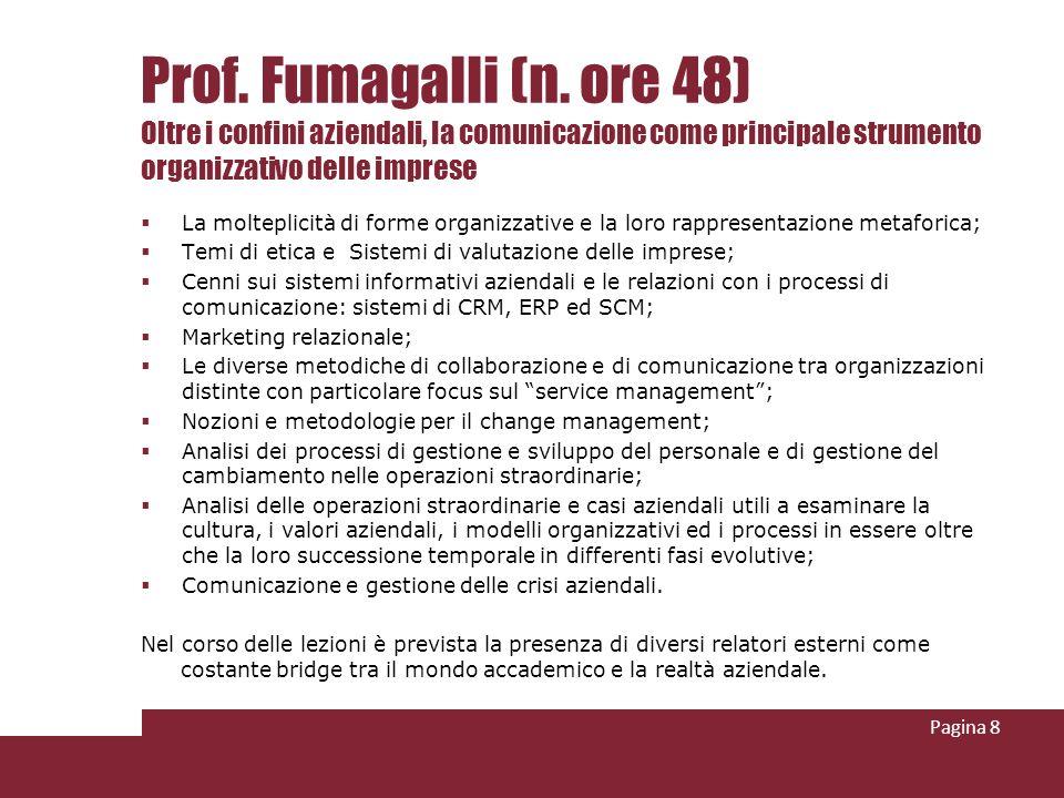 Prof. Fumagalli (n. ore 48) Oltre i confini aziendali, la comunicazione come principale strumento organizzativo delle imprese La molteplicità di forme