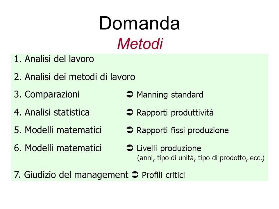 Domanda Metodi 1. Analisi del lavoro 2. Analisi dei metodi di lavoro 3. Comparazioni Manning standard 4. Analisi statistica Rapporti produttività 5. M