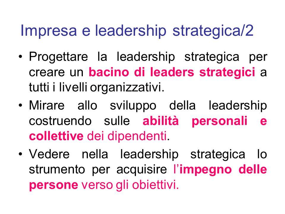 Impresa e leadership strategica/2 Progettare la leadership strategica per creare un bacino di leaders strategici a tutti i livelli organizzativi.