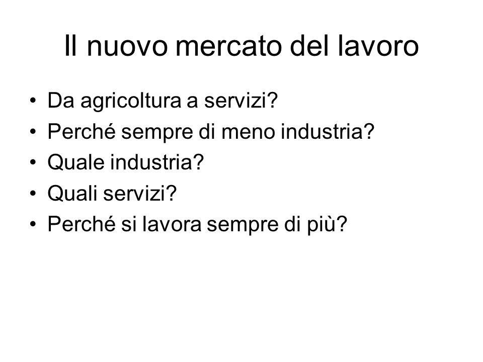 Il nuovo mercato del lavoro Da agricoltura a servizi? Perché sempre di meno industria? Quale industria? Quali servizi? Perché si lavora sempre di più?