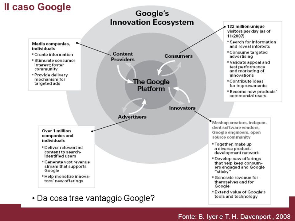 18, 19, 25 e 26 marzo 2010Il nuovo ecosistema comunicativoPagina 11 Fonte: B. Iyer e T. H. Davenport, 2008 Il caso Google Da cosa trae vantaggio Googl