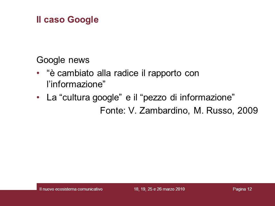 18, 19, 25 e 26 marzo 2010Il nuovo ecosistema comunicativoPagina 12 Google news è cambiato alla radice il rapporto con linformazione La cultura google e il pezzo di informazione Fonte: V.