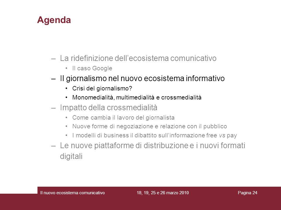 18, 19, 25 e 26 marzo 2010Il nuovo ecosistema comunicativoPagina 24 –La ridefinizione dellecosistema comunicativo Il caso Google –Il giornalismo nel n
