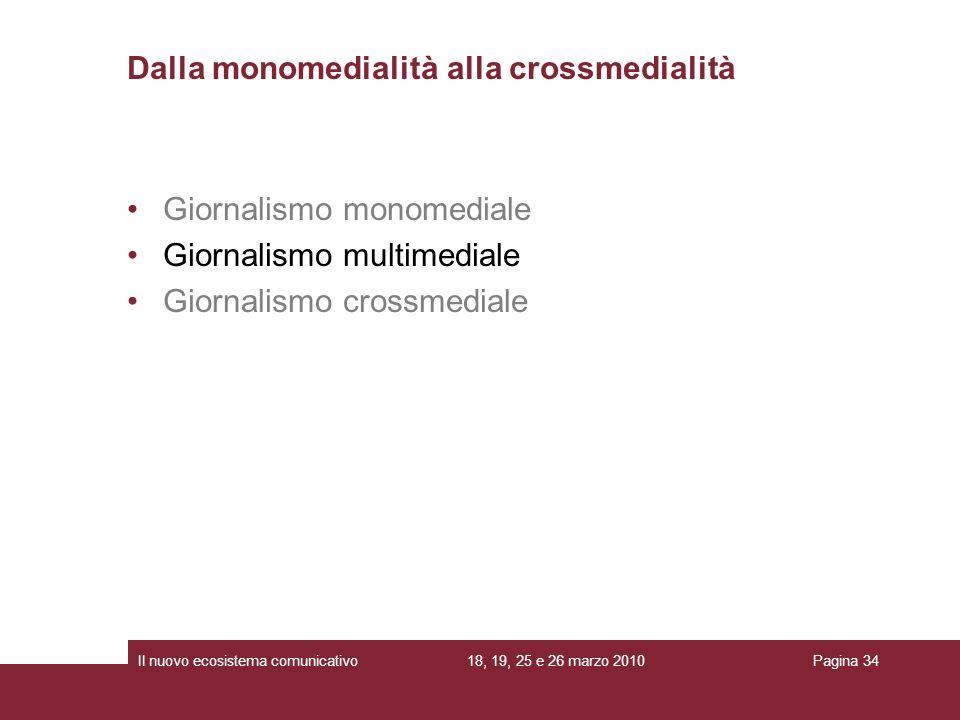 18, 19, 25 e 26 marzo 2010Il nuovo ecosistema comunicativoPagina 34 Giornalismo monomediale Giornalismo multimediale Giornalismo crossmediale Dalla monomedialità alla crossmedialità