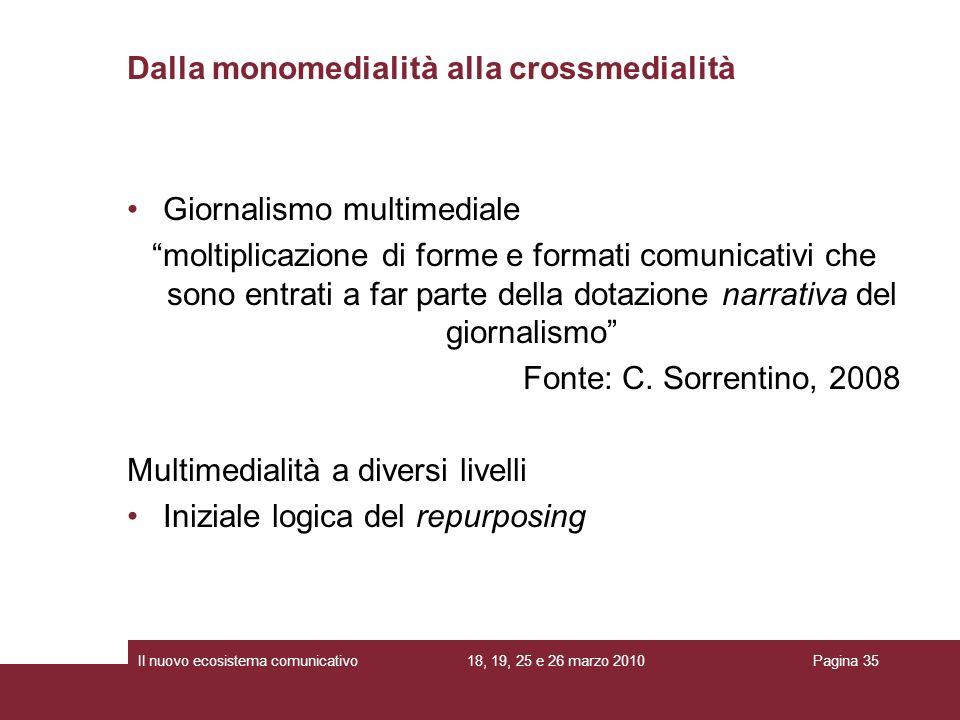 18, 19, 25 e 26 marzo 2010Il nuovo ecosistema comunicativoPagina 35 Giornalismo multimediale moltiplicazione di forme e formati comunicativi che sono
