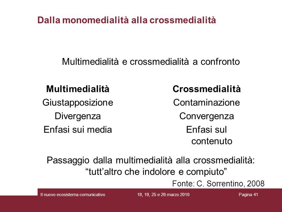 18, 19, 25 e 26 marzo 2010Il nuovo ecosistema comunicativoPagina 41 Multimedialità e crossmedialità a confronto Dalla monomedialità alla crossmedialit