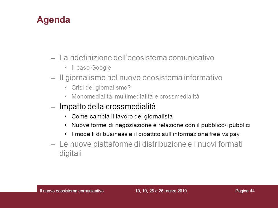 18, 19, 25 e 26 marzo 2010Il nuovo ecosistema comunicativoPagina 44 Agenda –La ridefinizione dellecosistema comunicativo Il caso Google –Il giornalismo nel nuovo ecosistema informativo Crisi del giornalismo.