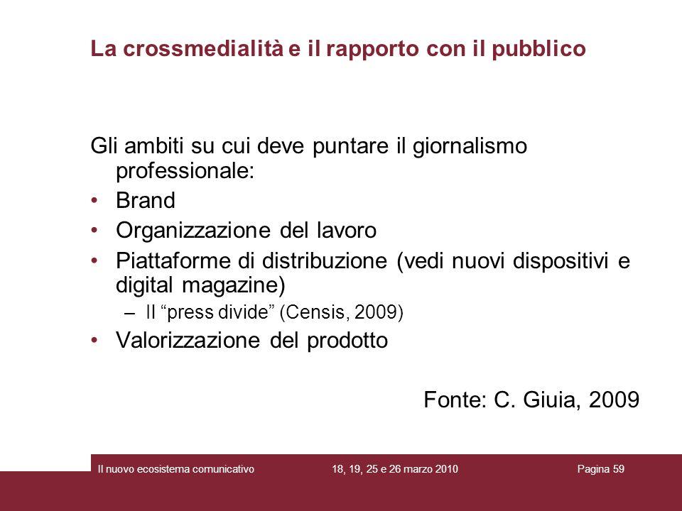 18, 19, 25 e 26 marzo 2010Il nuovo ecosistema comunicativoPagina 59 Gli ambiti su cui deve puntare il giornalismo professionale: Brand Organizzazione