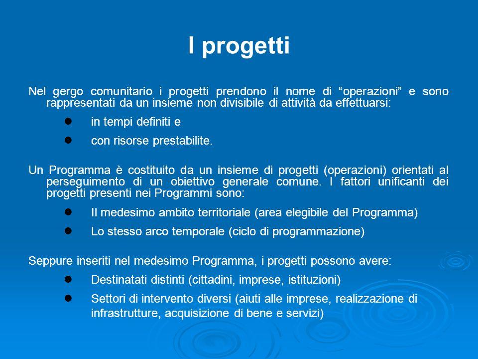 I progetti Nel gergo comunitario i progetti prendono il nome di operazioni e sono rappresentati da un insieme non divisibile di attività da effettuarsi: in tempi definiti e con risorse prestabilite.