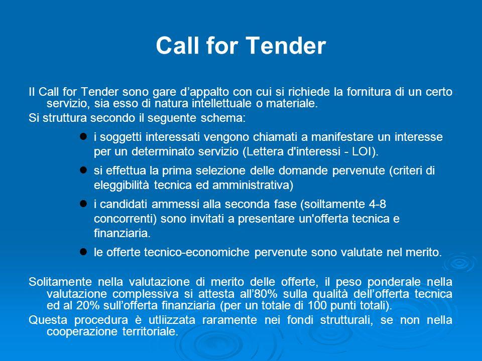 Call for Tender Il Call for Tender sono gare dappalto con cui si richiede la fornitura di un certo servizio, sia esso di natura intellettuale o materiale.