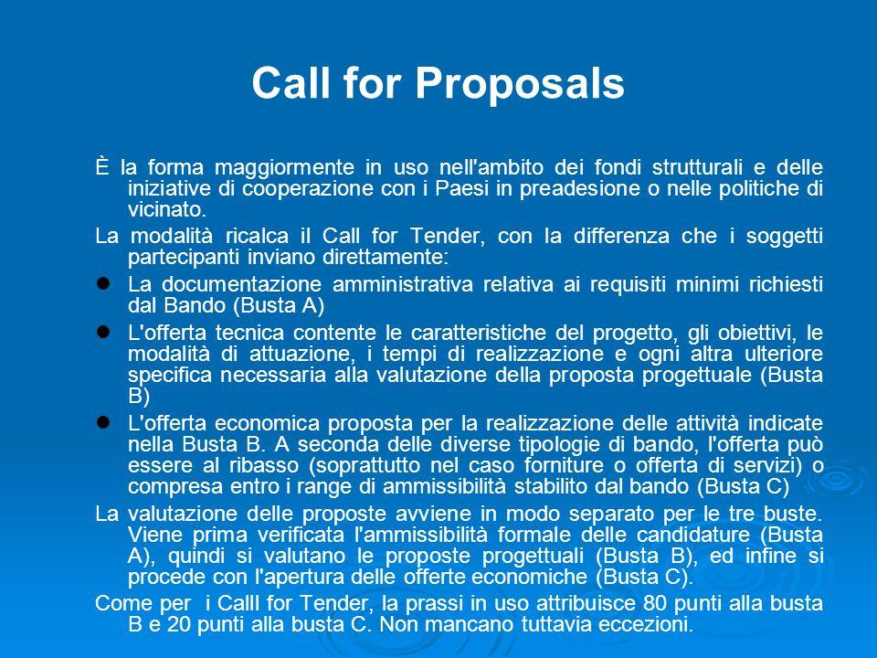 Call for Proposals È la forma maggiormente in uso nell ambito dei fondi strutturali e delle iniziative di cooperazione con i Paesi in preadesione o nelle politiche di vicinato.