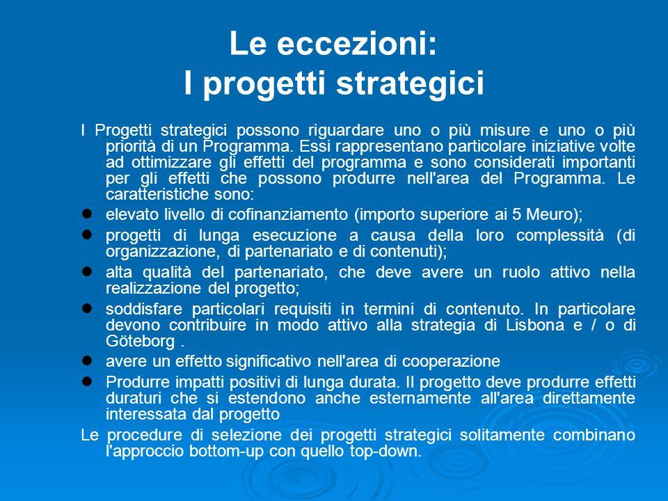 Le eccezioni: I progetti strategici I Progetti strategici possono riguardare uno o più misure e uno o più priorità di un Programma.