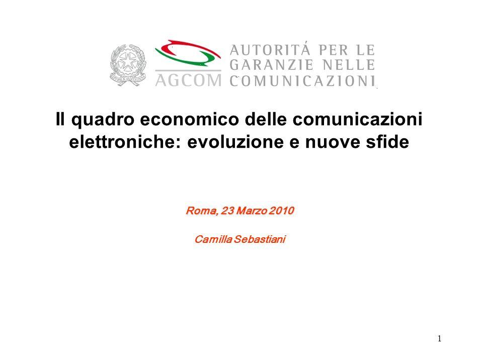 1 Il quadro economico delle comunicazioni elettroniche: evoluzione e nuove sfide Roma, 23 Marzo 2010 Camilla Sebastiani