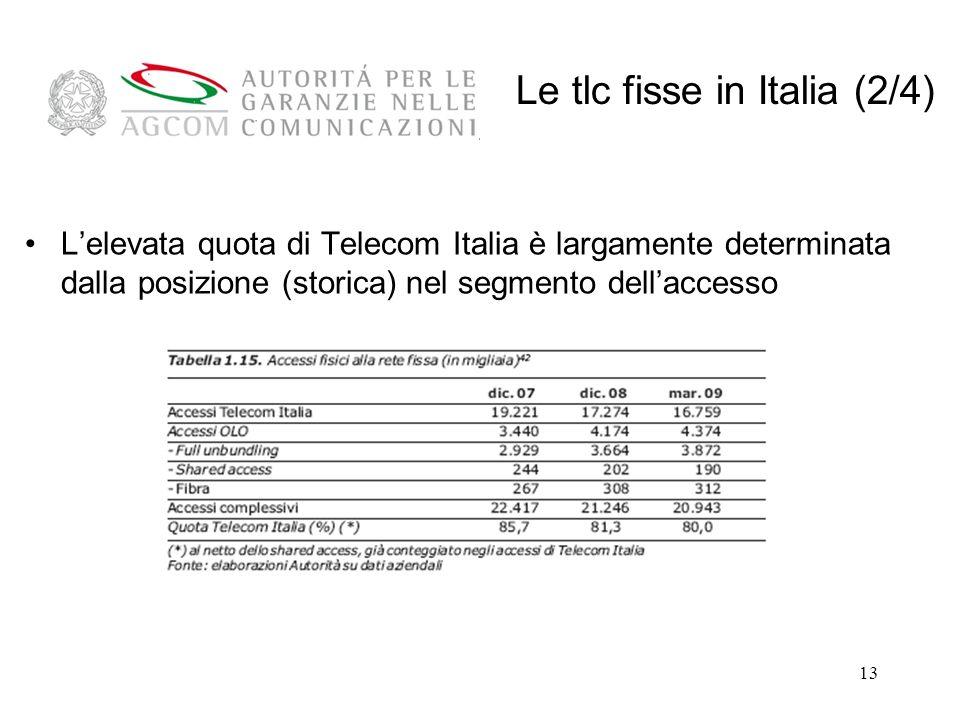 13 Lelevata quota di Telecom Italia è largamente determinata dalla posizione (storica) nel segmento dellaccesso Le tlc fisse in Italia (2/4)