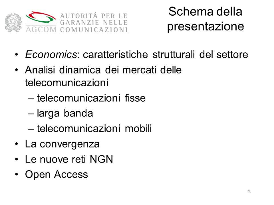 2 Schema della presentazione Economics: caratteristiche strutturali del settore Analisi dinamica dei mercati delle telecomunicazioni –telecomunicazioni fisse –larga banda –telecomunicazioni mobili La convergenza Le nuove reti NGN Open Access