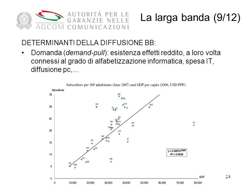 24 DETERMINANTI DELLA DIFFUSIONE BB: Domanda (demand-pull): esistenza effetti reddito, a loro volta connessi al grado di alfabetizzazione informatica, spesa IT, diffusione pc,...