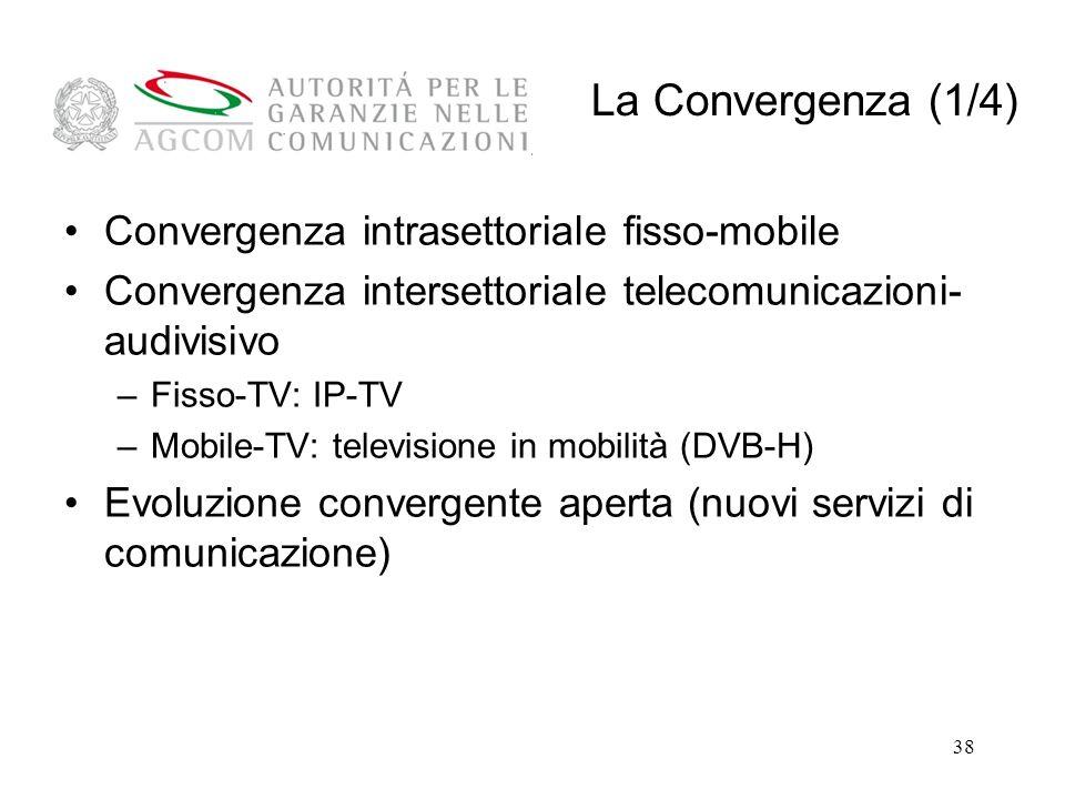 38 Convergenza intrasettoriale fisso-mobile Convergenza intersettoriale telecomunicazioni- audivisivo –Fisso-TV: IP-TV –Mobile-TV: televisione in mobilità (DVB-H) Evoluzione convergente aperta (nuovi servizi di comunicazione) La Convergenza (1/4)