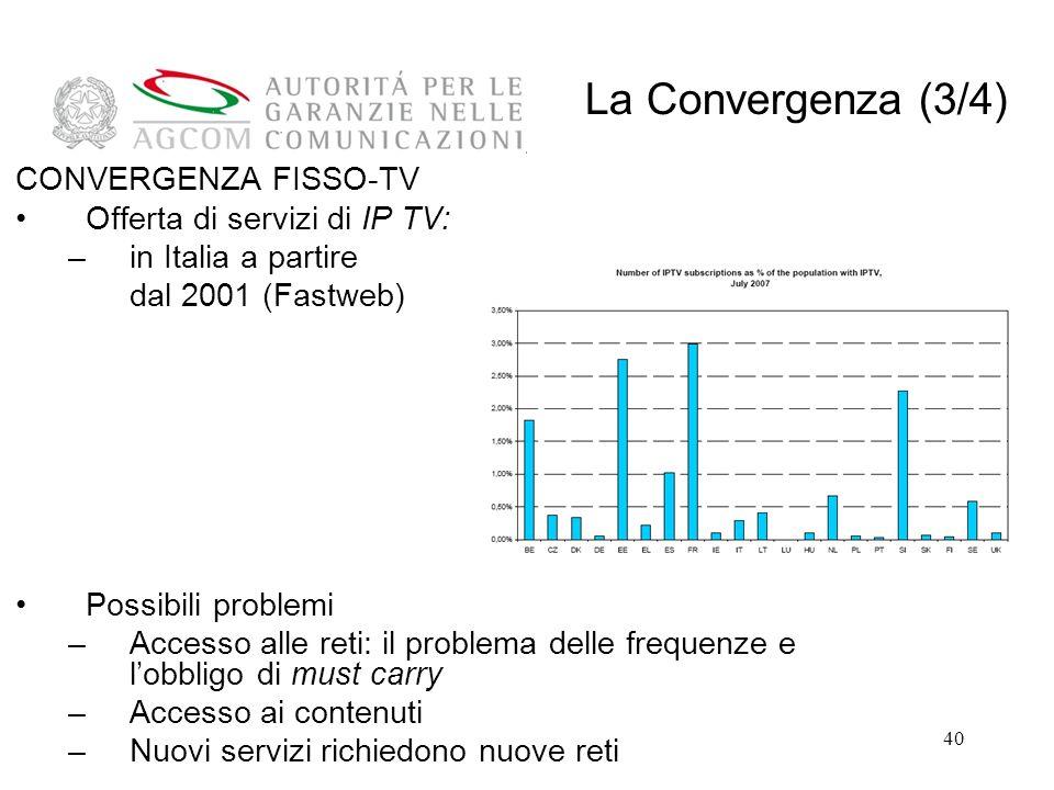 40 CONVERGENZA FISSO-TV Offerta di servizi di IP TV: –in Italia a partire dal 2001 (Fastweb) Possibili problemi –Accesso alle reti: il problema delle frequenze e lobbligo di must carry –Accesso ai contenuti –Nuovi servizi richiedono nuove reti La Convergenza (3/4)