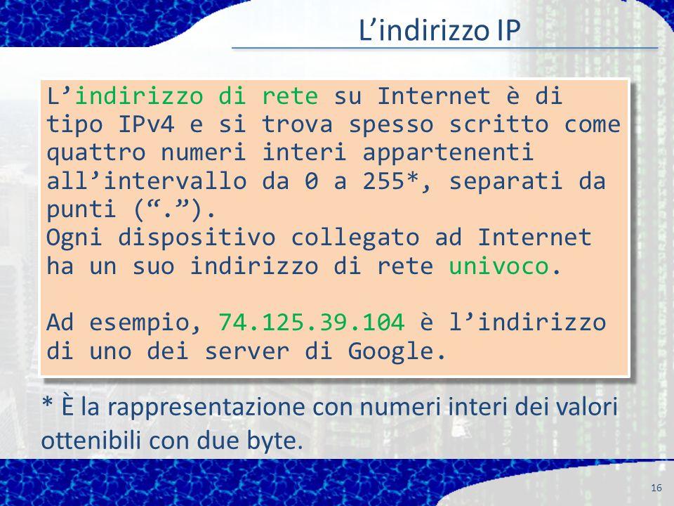 Lindirizzo IP 16 Lindirizzo di rete su Internet è di tipo IPv4 e si trova spesso scritto come quattro numeri interi appartenenti allintervallo da 0 a 255*, separati da punti (.).