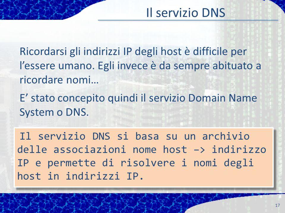 Il servizio DNS 17 Ricordarsi gli indirizzi IP degli host è difficile per lessere umano.