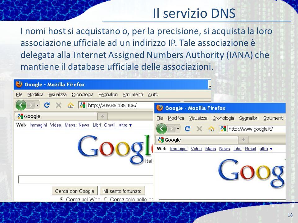 Il servizio DNS 18 I nomi host si acquistano o, per la precisione, si acquista la loro associazione ufficiale ad un indirizzo IP.