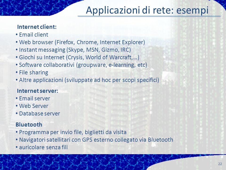 Applicazioni di rete: esempi 22 Internet client: Email client Web browser (Firefox, Chrome, Internet Explorer) Instant messaging (Skype, MSN, Gizmo, I